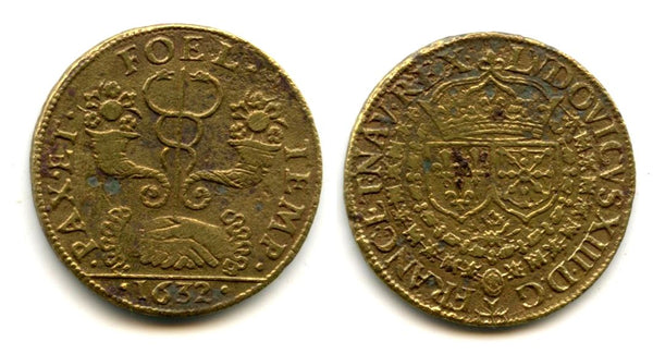 "Nice brass token (AE24) of Louis XIII (1610-1643), dated 1632, France - ""caduceus and cornucopeas"" type"