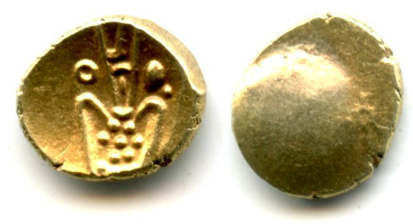 Rare gold Kali scyphate fanam minted from South-Eastern India, Dutch VOC or local issue, 17th-18th century, India (Herrli #3.07 var)