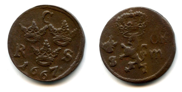 Large copper 1/6 ore of Carl XI (1660-1694), dated 1667, Avesta mint, Kingdom of Sweden (KM 254)