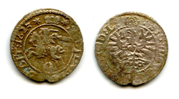 High quality silver 2-denars (solidus) of Sigismund III (1587-1632), 1623, Grand Duchy of Lithuania, Polish-Lithuanian Commonwealth (KM 30)