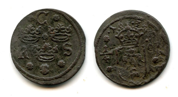 Rare large copper 1/4 ore of Christina (1632-1654), dated 1635, Nyköping mint, Kingdom of Sweden (KM 152.2)