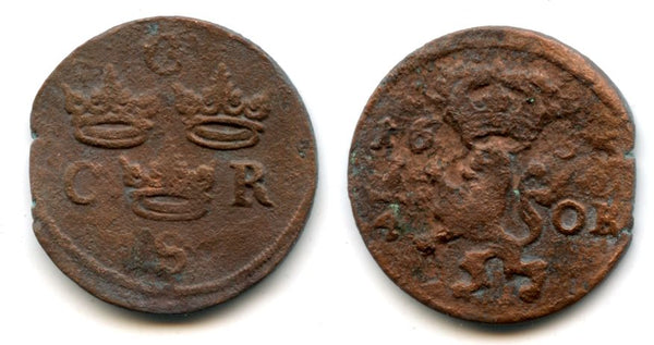 Rare large copper 1/4 ore of Carl X Gustav (1654-1660), dated 1655, Avesta mint, Kingdom of Sweden (KM 211)