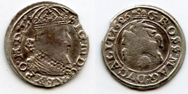 Scarce silver gross (grosz) of Sigismund III (1587-1632), 1626, Grand Duchy of Lithuania, Polish-Lithuanian Commonwealth (KM 32)