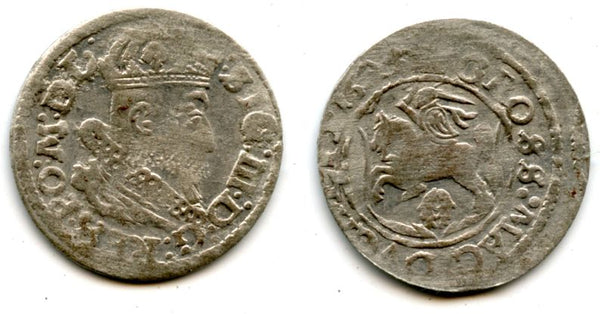 Scarce silver gross (grosz) of Sigismund III (1587-1632), 1625, Grand Duchy of Lithuania, Polish-Lithuanian Commonwealth (KM 32)