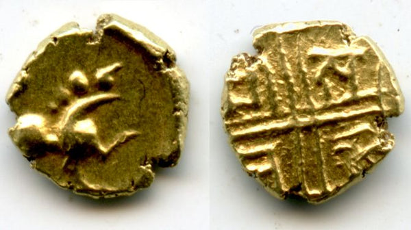 Superb and extremely rare gold lion-fanam with the legend in grid, Raja Sarabhaji I (1712-1728), Marathas of Tanjore (Thanjavur), India (Herrli 5.04.10)