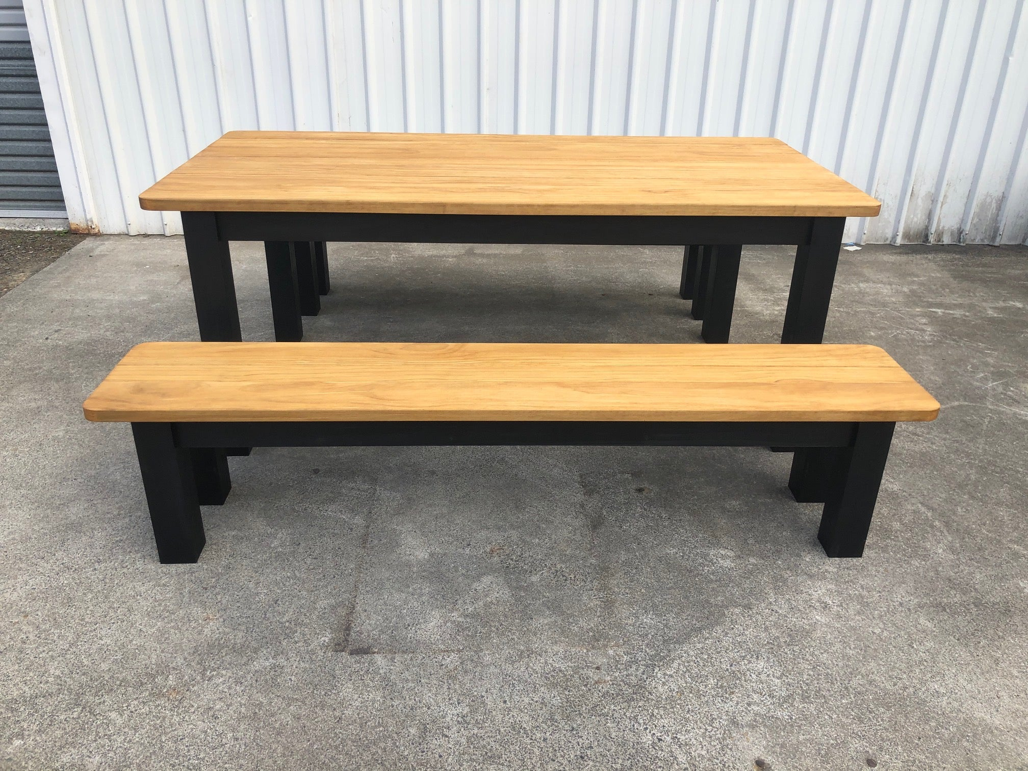 Picture of: Outdoor Table With Bench Seats Barleaners Co Nz