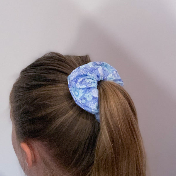 Blue Floral Scrunchie