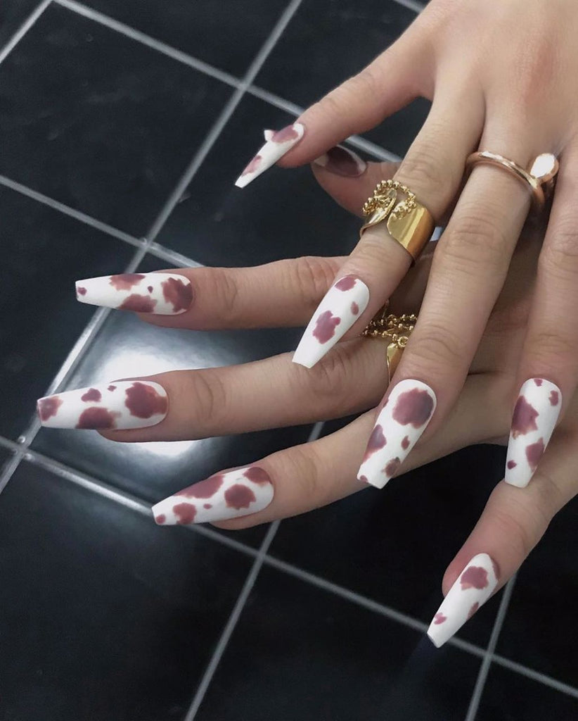 Blackpink Rose's How You Like That Cow Print Nails
