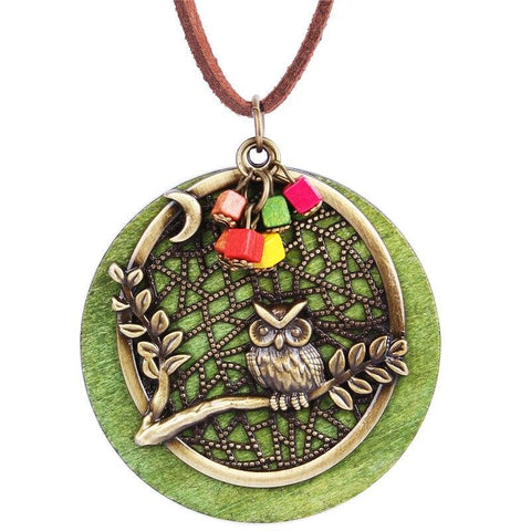 Collier Hibou Antique En Bois