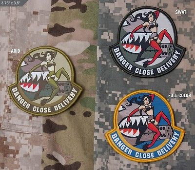 Danger Close Delivery Pin Up Tactical Patch Hooks Loop Velcro Milspec Monkey