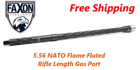 "Faxon Firearms 18"" Flame Fluted 5.56 NATO Barrel Rifle Length Gas 416R Stainless Steel QPQ"