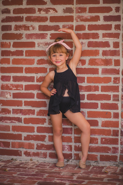 Dreamy Doll Ruffle Leotard in Black