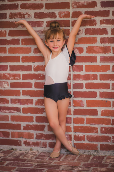 Sassy Sophisticated Leotard in White/Black