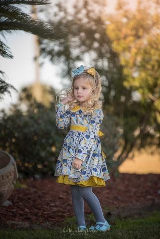 Navy/Mustard Feather Dress