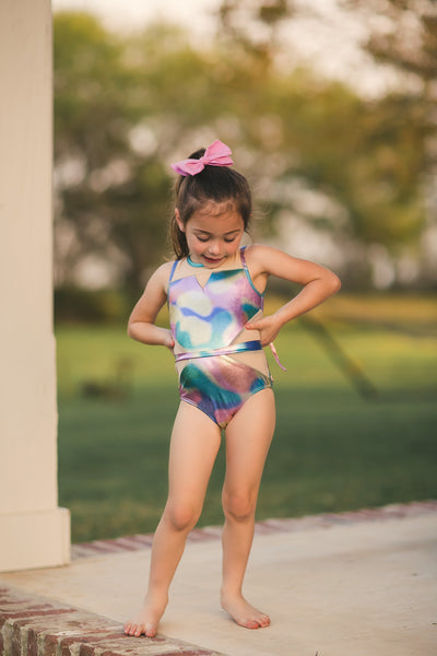 Metallic Tie Dye Meshed Out Leotard