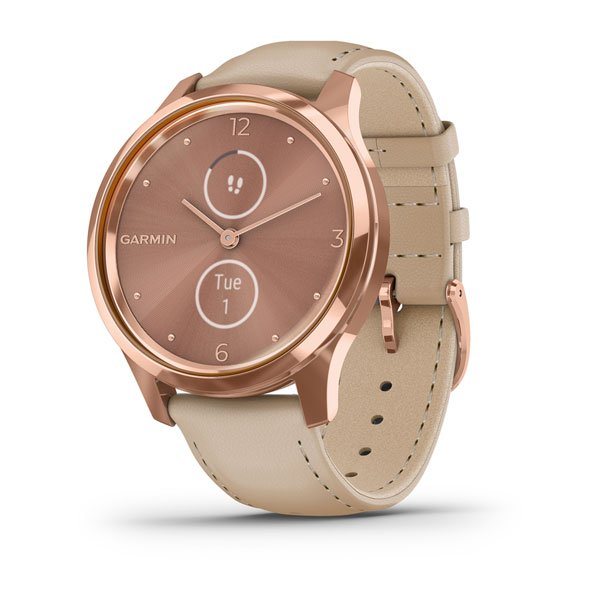 GARMIN vivomove® Luxe, 18K Rose Gold PVD Stainless Steel Case with Light Sand Italian Leather Band