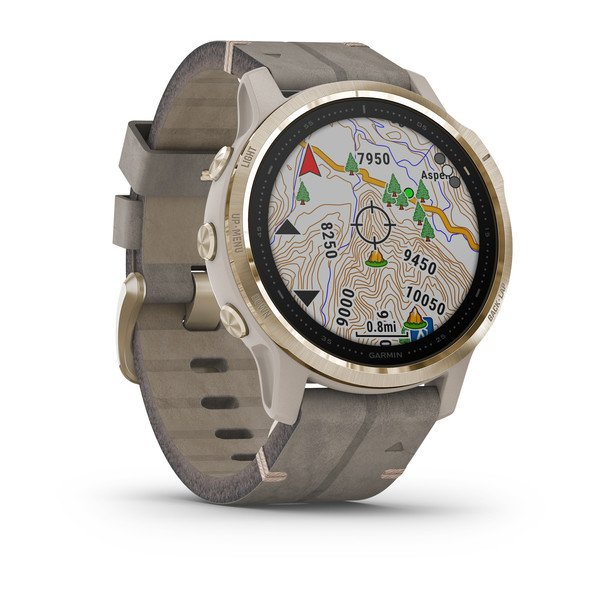 GARMIN fēnix® 6S Sapphire, Light Gold-tone with Shale Gray Leather Band