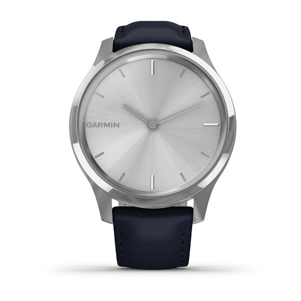 GARMIN vivomove® Luxe, Silver Stainless Steel Case with Navy Italian Leather Band