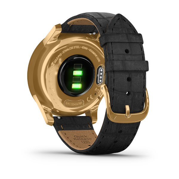 GARMIN vivomove® Luxe, 24K Gold PVD Stainless Steel Case with Black Embossed Italian Leather Band