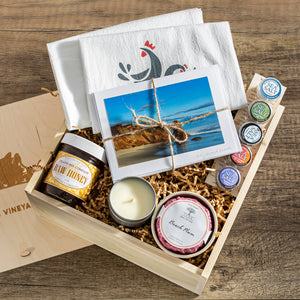 Gift basket or box filled with a tea towel, photo cards, sea salt, and other artisan items made on Martha's Vineyard