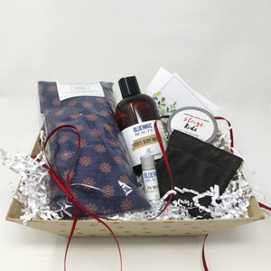 Men's Valentine's Day Gift Box with money pouch, heat pack, candle, and more.