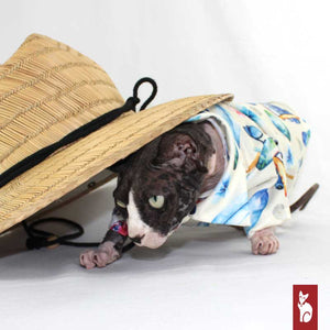 Hawaien Shirt for Sphynx Cat, Cream Vacation | Sphynx Cat Clothing