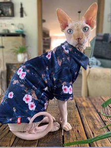 Hawaien Shirt for Cat Sphynx, Dark Blue Island | Sphynx Cat Clothing