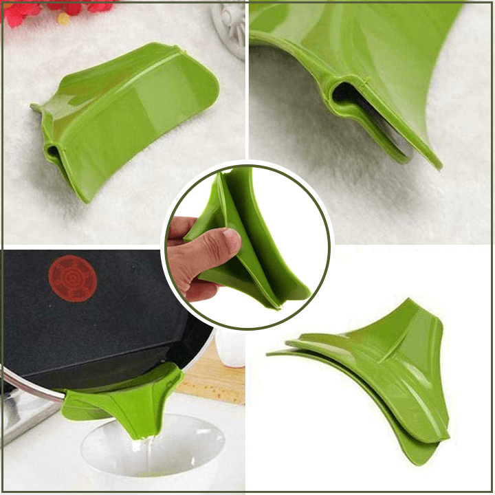 Anti-spill Silicone Pot Funnel Dispenser