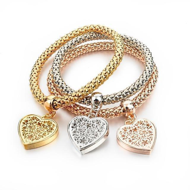 """Heart"" Charm Bracelet with Austrian Crystals - Dechappy"