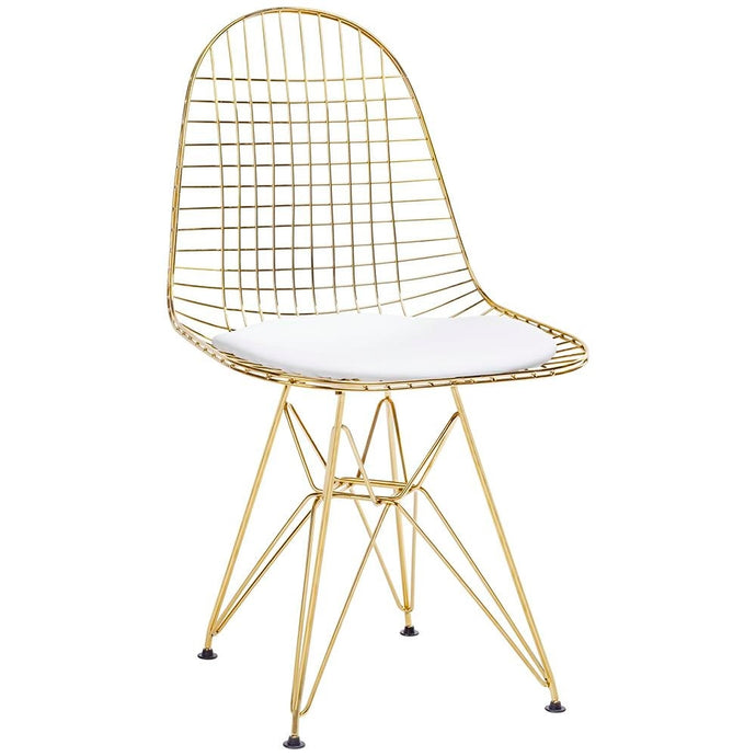Metal chair/ Gold frame with white pillow - MANU Wooden Collection