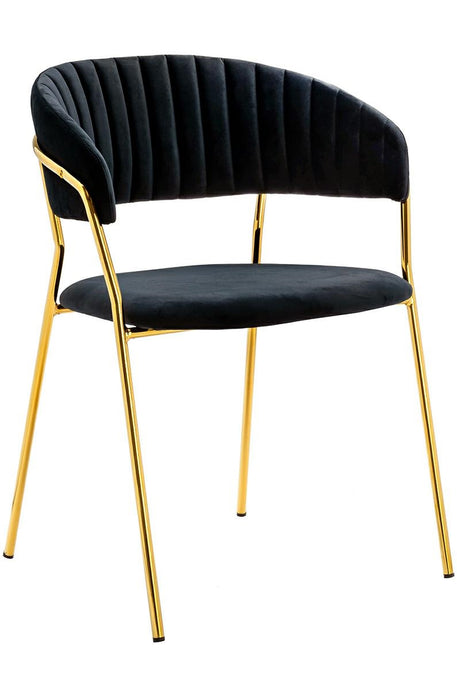 Upholstered dining chair, dark velvet with golden frame - MANU Wooden Collection