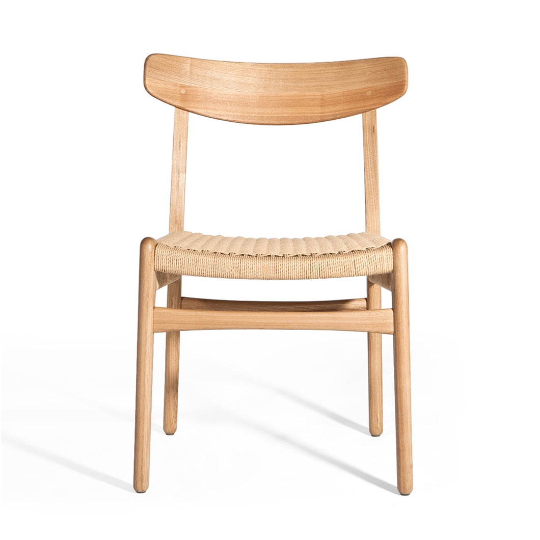 Wooden chair with woven cord seat, CH23 Hans Wegner