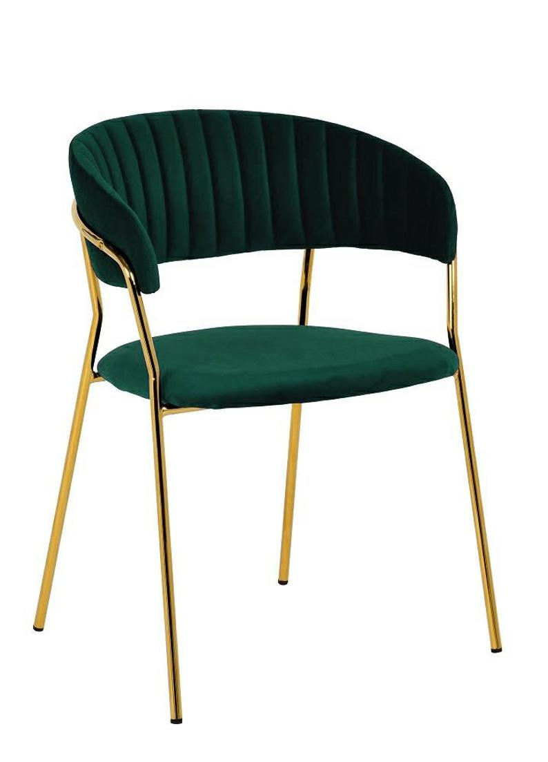 Dark green velvet chair with golden frame