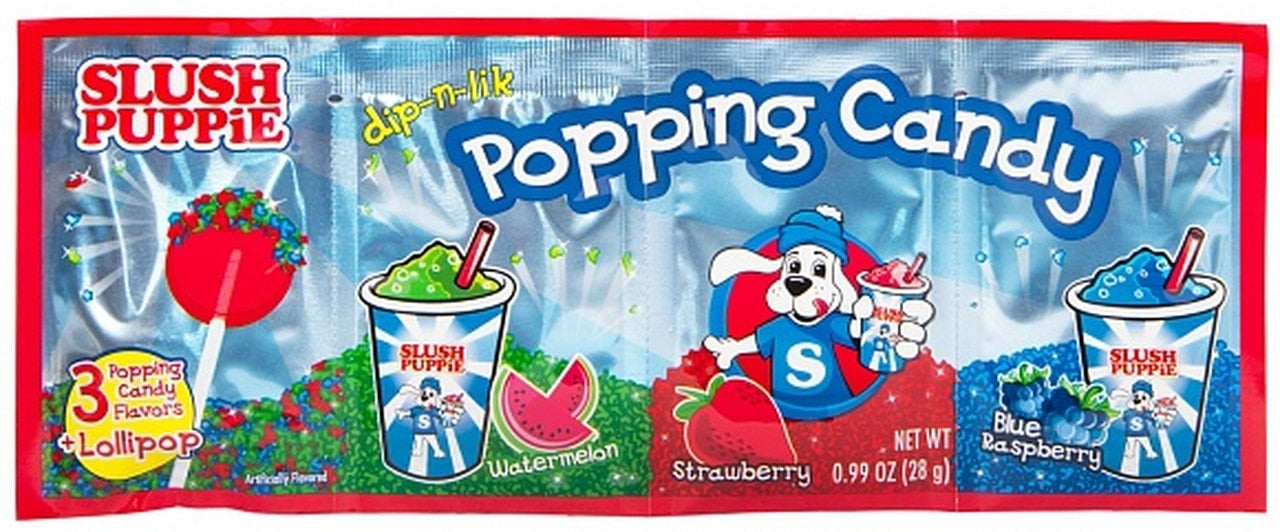 SLUSH PUPPIE POPPING CANDY AND LOLLIPOP 3 PACK