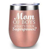 *Mom Of Boys*- 12 oz Stainless Steel Cup with Stainless Straw