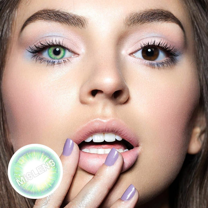 Rainbow Neon Green Colored Contact Lenses