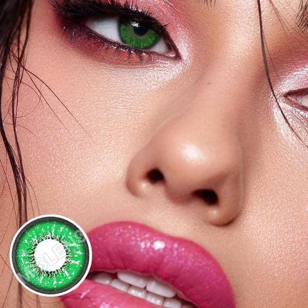 Love Words Green Colored Contact Lenses