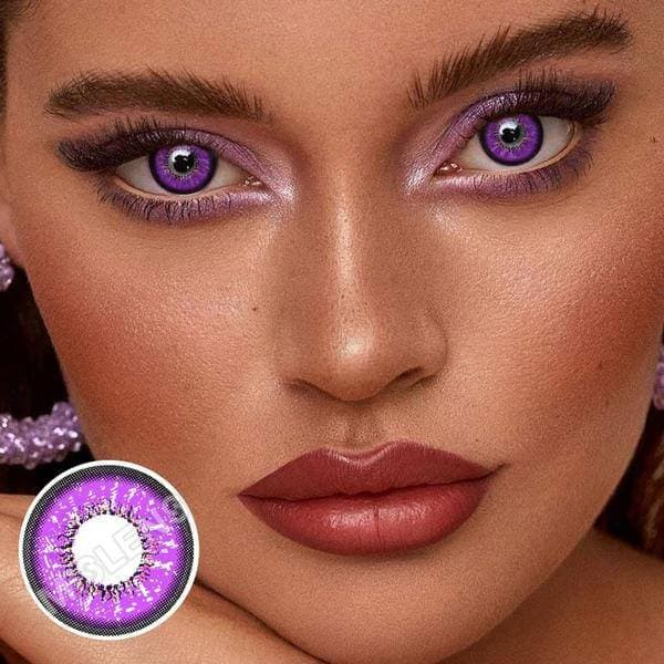 Love Words Purple Colored Contact Lenses
