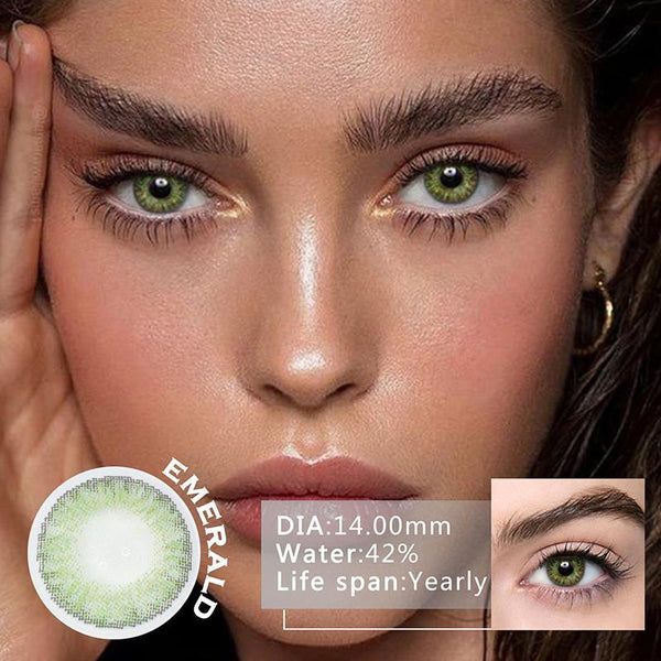 Greenstone 3 Stone Gemstone Green Colored Contact Lenses