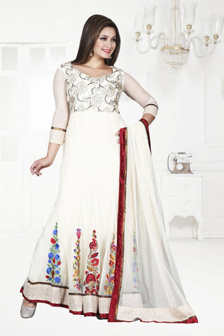 white anarkali suits