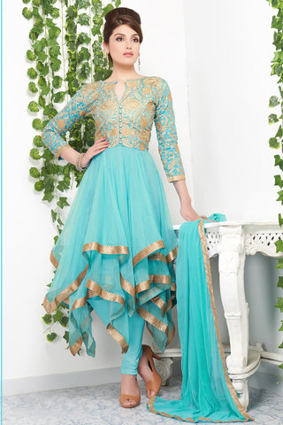 sky blue anarkali dress