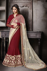 http://www.variationfashion.com/collections/lehenga-sarees/products/cream-maroon-net-chiffon-one-minute-saree