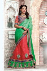 http://www.variationfashion.com/collections/lehenga-sarees/products/green-pink-colour-net-satin-chiffon-lehenga-saree-by-hypnotex