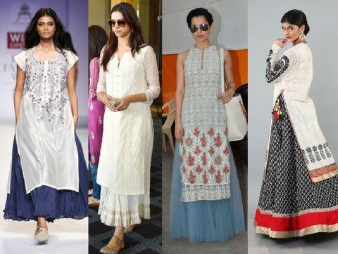 Long Kurtas worn with Long Skirts