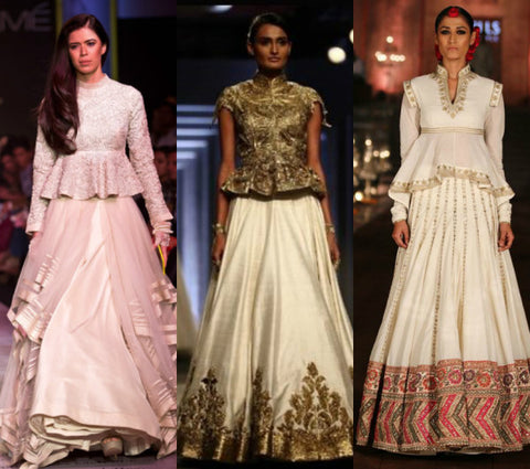 Peplum or Cape Tops with Lehenga Skirts