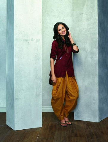 A-line Kurta with Ciggy Pants or Harem Pants