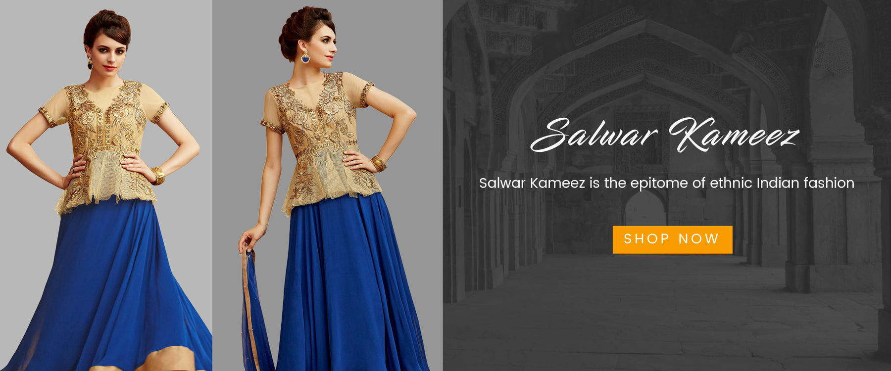 Indian Salwar Kameez Online: Buy latest Designer Salwar Suits online at best price on Variation. Shop from range of Anarkali, Churidar, Punjabi and Bridal Salwar Kameez in cotton, silk, chiffon and net salwar kameez for wedding party and reception.