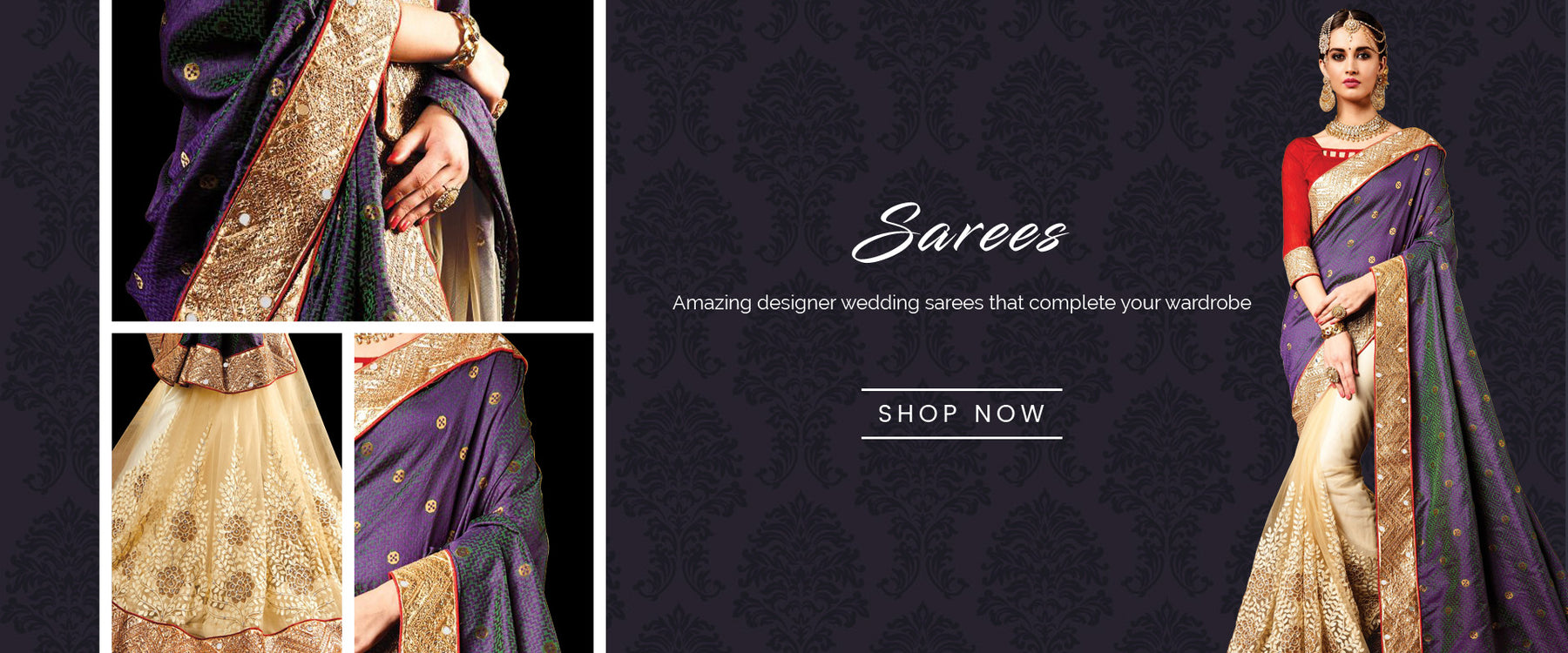 Sarees Online Shopping: Buy Designer Sarees online at best price on Variation. Shop from range of cotton, silk, chiffon, georgette and net sarees for wedding party, reception and farewell functions. Shipping worldwide including India, USA, UK and Canada.