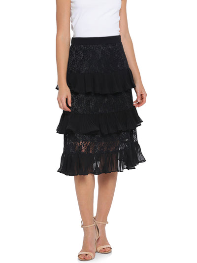 A-Line Ruffle Skirt in Black