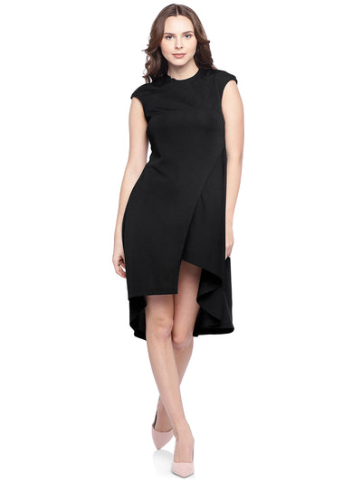 Asymmetric A-line Overlap Dress in Black